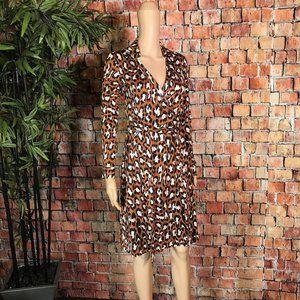 DVF Silk Animal Print Wrap dress Size 4